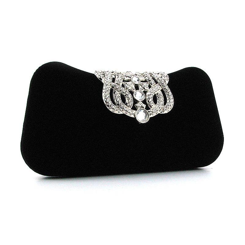 918569a93ff1 Велюровый черный клатч вечерний со стразами - Интернет магазин сумок  SUMKOFF - женские и мужские сумки