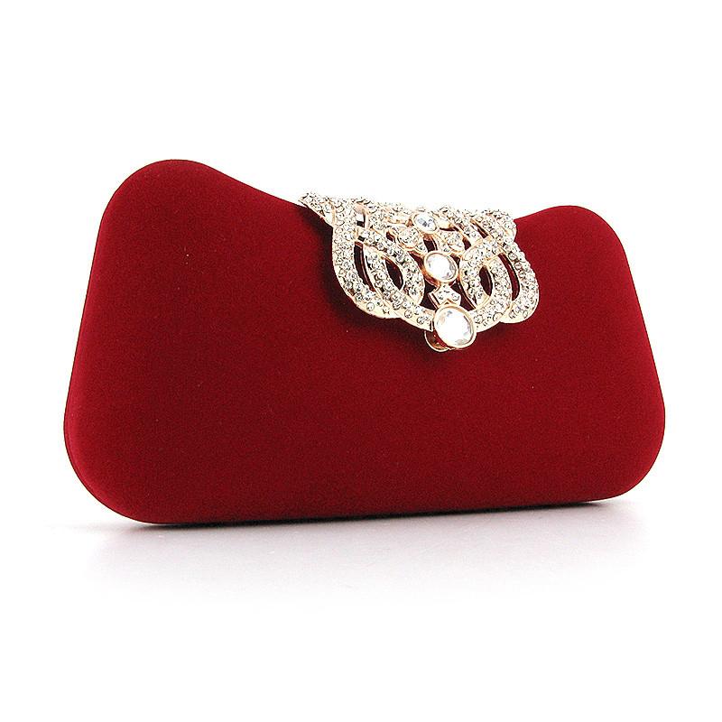 ca97cf350c87 Велюровый красный клатч вечерний со стразами - Интернет магазин сумок  SUMKOFF - женские и мужские сумки