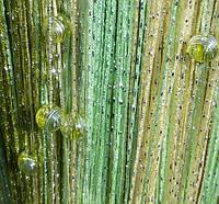 Кисея Радуга дождь с бусинами (шампань+салатовый+оливковый)