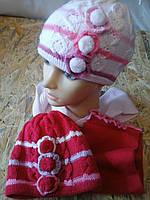 Шапка вязанная с шарфом  для девочки