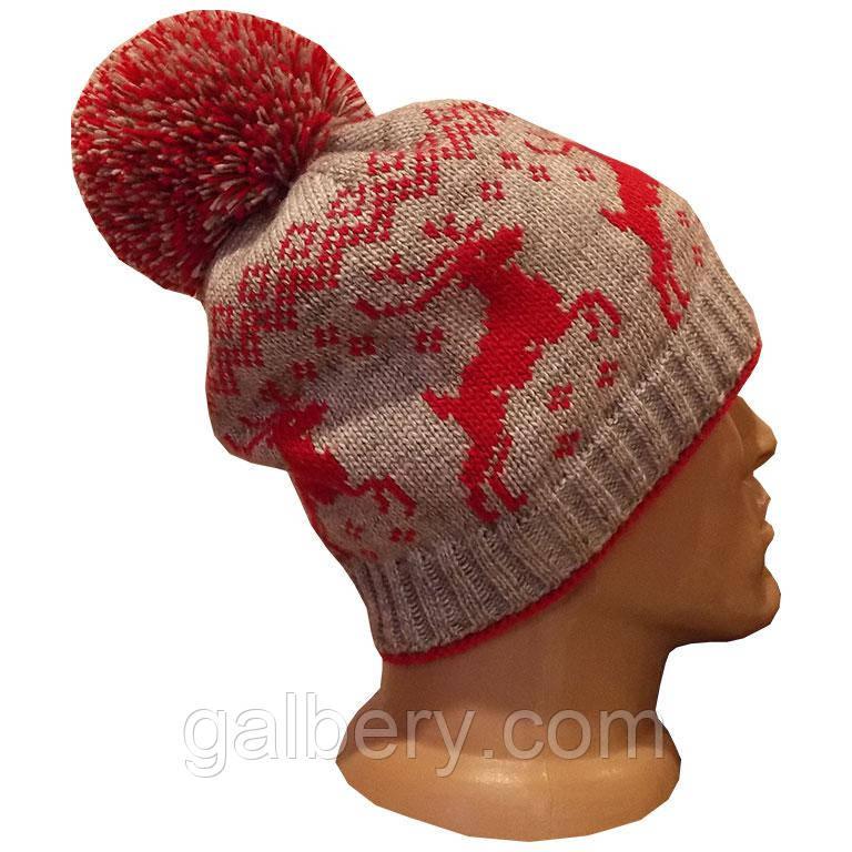 """Зимова шапка з орнаментом """"Олені"""""""