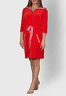 Халат велюр MODENA жіночий на замочку червоний MVRZ1116