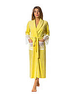 Халат велюр MODENA жіночий довгий жовтий MVY1316