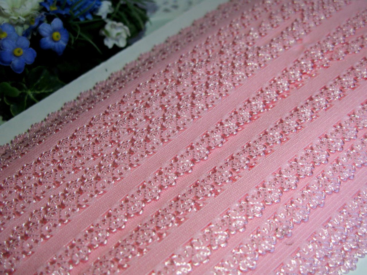 Бейка - резинка ажурная. Цвет розовый 2.3 см