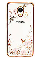 Чехол с цветами и стразами Meizu M3 / M3 mini / M3s (Gold), фото 1