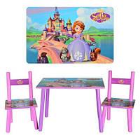 Набор детской деревянной мебели Столик + 2 стульчика Принцесса София BAMBI М 2261