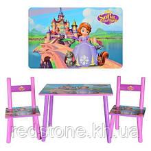 Набор детской деревянной мебели Столик+2 стульчика Принцесса София BAMBI М 2261
