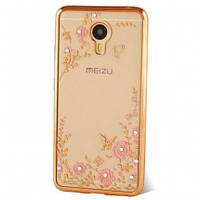 Чехол с цветами и стразами Meizu M6 (Gold)
