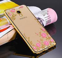 Чехол с цветами и стразами Meizu M6 Note (Gold)