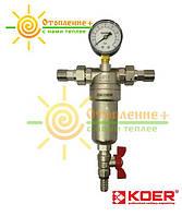 Фильтр промывной Koer 1/2 с манометром