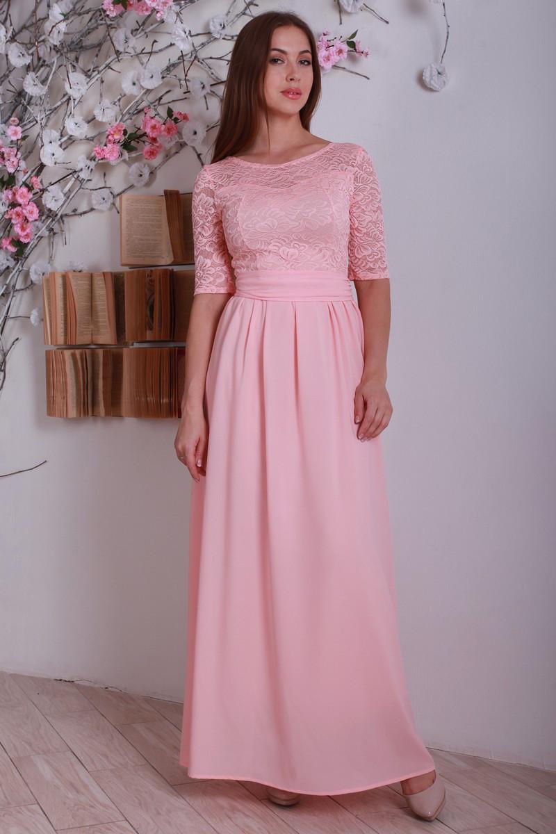 Ошатне елегантне жіноче літнє плаття в підлогу, персикове.