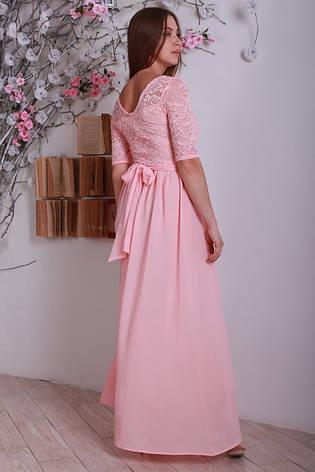 Ошатне елегантне жіноче літнє плаття в підлогу, персикове., фото 2
