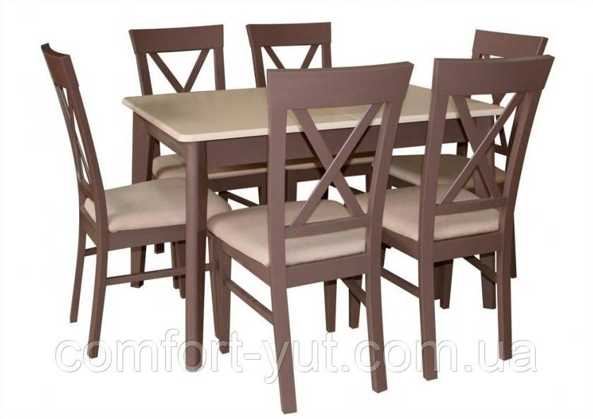 Стол Лекс латте+шоколад 120(+40)*80 обеденный раскладной деревянный