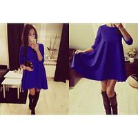 Платье трапеция однотонное стильное XL + (4 цвета)