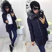 Женская демисезонная курточка с мехом на капюшоне
