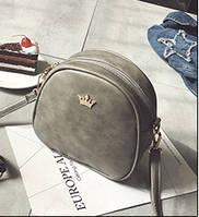 Женская маленькая сумочка на молнии серая через плечо серая  опт, фото 1