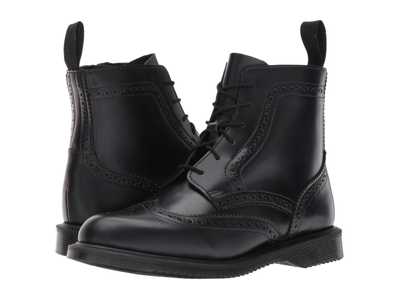 Ботинки Сапоги (Оригинал) Dr. Martens Delphine 6-Eye Brogue Boot Black  Polished Smooth 1f63d3facf2ce