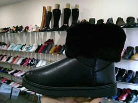 Черные угги эко кожаные с опушкой, фото 2