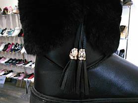 Черные угги эко кожаные с опушкой, фото 3