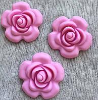 Роза большая, силиконовая бусина Розовый