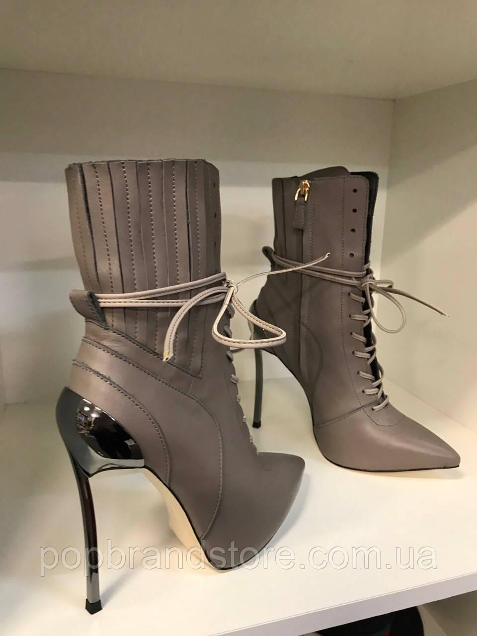 Кожаные женские ботильоны Casadei  Techno Blade  на шнуровке (реплика) bc1e87d5728