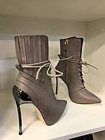 Кожаные  женские ботильоны Casadei 'Techno Blade' на шнуровке