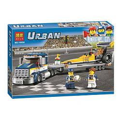 """Конструктор Bela 10650 Urban """"Вантажівка для перевезення драгстера"""" 345 деталей."""
