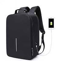 Рюкзак для ноутбука, с внешним USB портом чёрный , фото 1