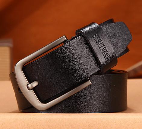 Ремень мужской кожаный DWTS 01 (черный)