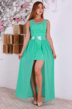 Красивое длинное макси платье с атласным поясом.