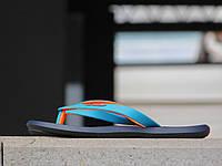 Мужские вьетнамки Rider Синий\Голубой-Оранжевый 10161