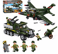 """Конструктор 1710 """"Авианалет"""" военный, транспорт, фигурки от компании Brick, 223 деталей"""