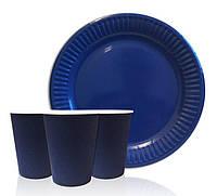 Набор одноразовой посуды Синий. Тарелки, стаканчики по 10 шт.