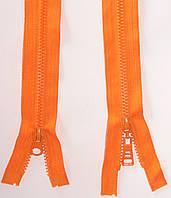 Молния тракторная косой зуб №5 Оранжевый пластиковая с двумя бегунками 110см