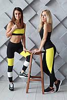 Спортивный топ для фитнеса желтый S M