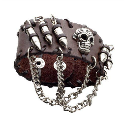Браслет кожаный череп с пулями и цепями (коричневый)