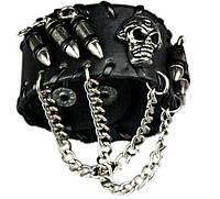 Браслет кожаный череп с пулями и цепями (чёрный)