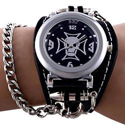 """Годинник наручний """"Череп з Мальтійським Хрестом"""" (з ланцюгом)"""