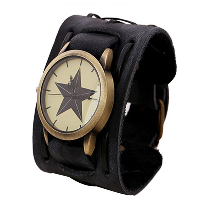 Годинник зі шкіряним ремінцем (зірка) [чорні]