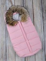 """Зимний конверт для новорожденного """"Snowman"""" розовый"""