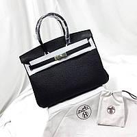 Женская черная кожаная сумка Hermes
