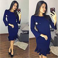 Платья женское вязаное с воланом синее