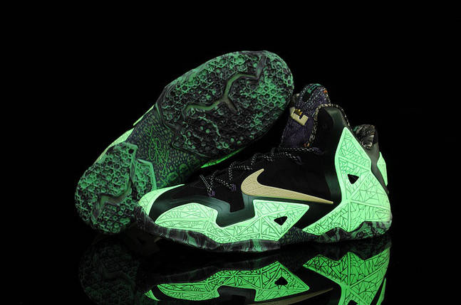 Мужские высокие кроссовки NIKE LEBRON 11 (светящиеся) зелен/фиолет, фото 2