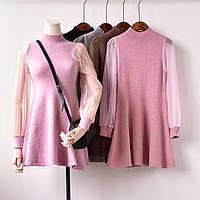 Платья женское вязаное с прозрачными рукавами