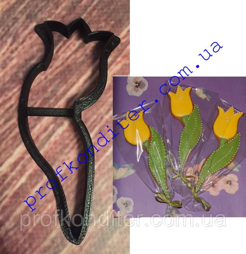 Вырубка Тюльпан с листиком, высота 10см