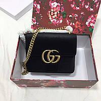 Женский клатч из атласного текстиля на цепочке Gucci