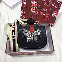 Кожаный клатч с украшением стразами в виде бабочки, сердечка Gucci