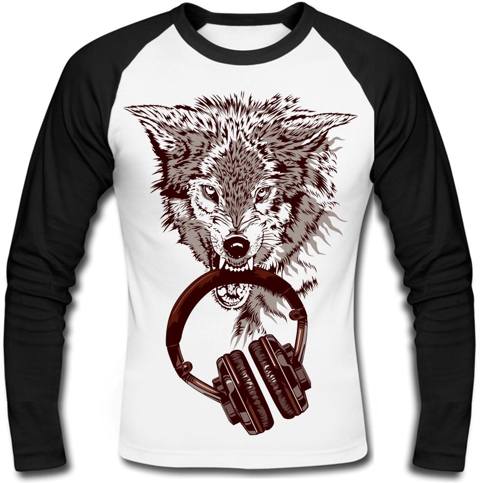 Футболка з довгим рукавом Wolf with Headphones
