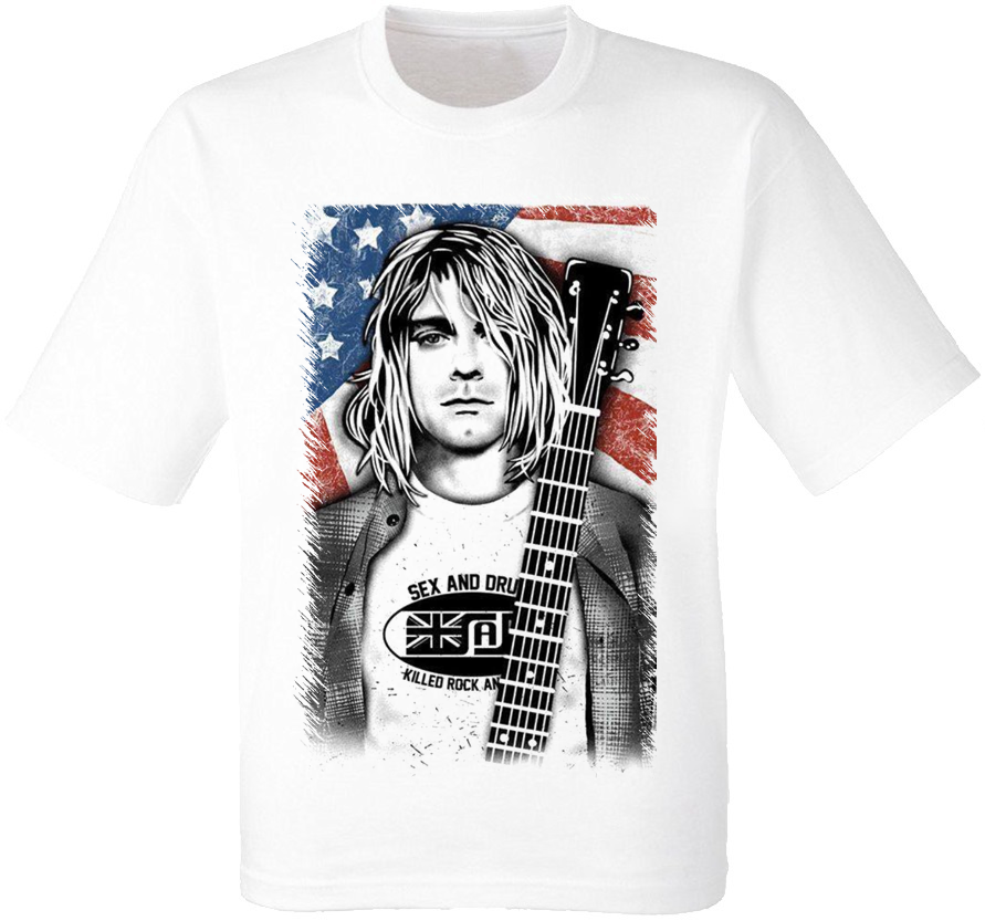 "Футболка Nirvana ""Smells Like Teen Spirit"" (Kurt Cobain) [белая]"