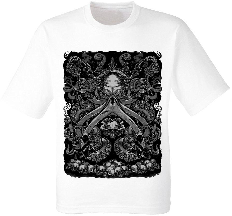 Футболка Octopus and Skulls (белая)